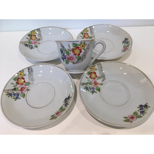Early 20th Century Japanese Tea Cup and Saucers - 5 Piece Set For Sale - Image 5 of 9