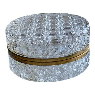 1930s French Round Cut Crystal Box For Sale