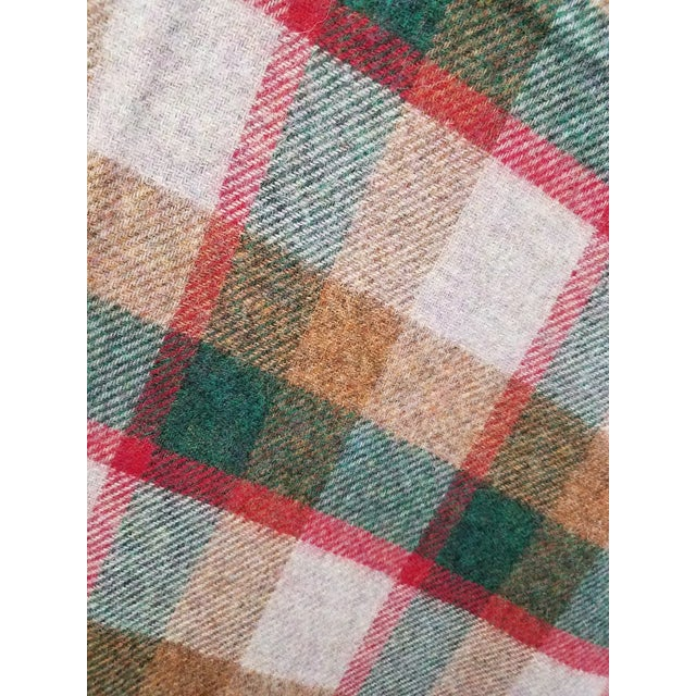 Brown Wool Throw Green, Red, Brown in a Check Design - Made in England For Sale - Image 8 of 11