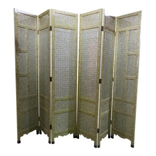Asian Inspired 6 Panel Screen For Sale