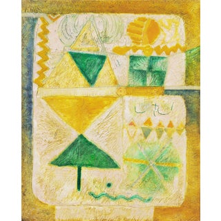 'Organic Abstract in Yellow and Green' by Aming Prayitno, 1970; Jakarta, Indonesian Art Academy, Ghent For Sale