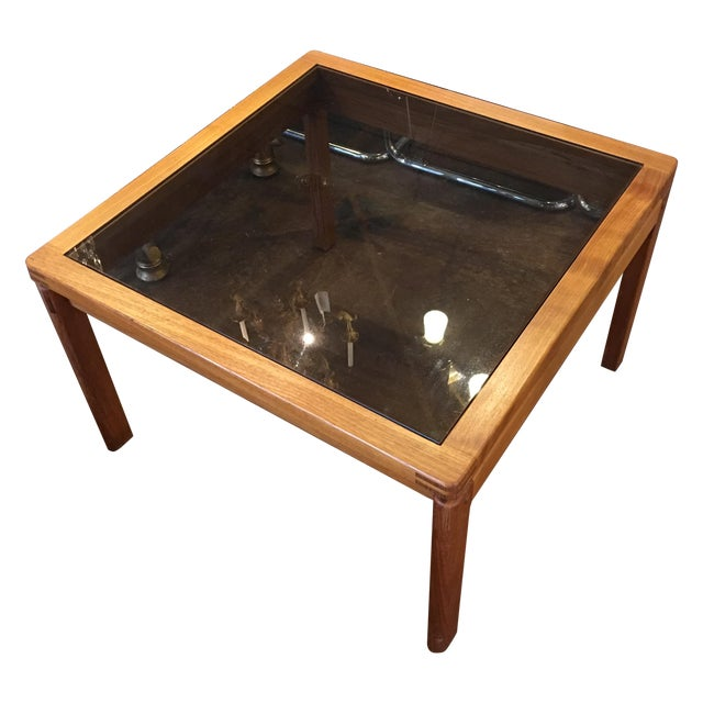 Mid-Century Teak & Smoked Glass Top Coffee Table - Image 1 of 7