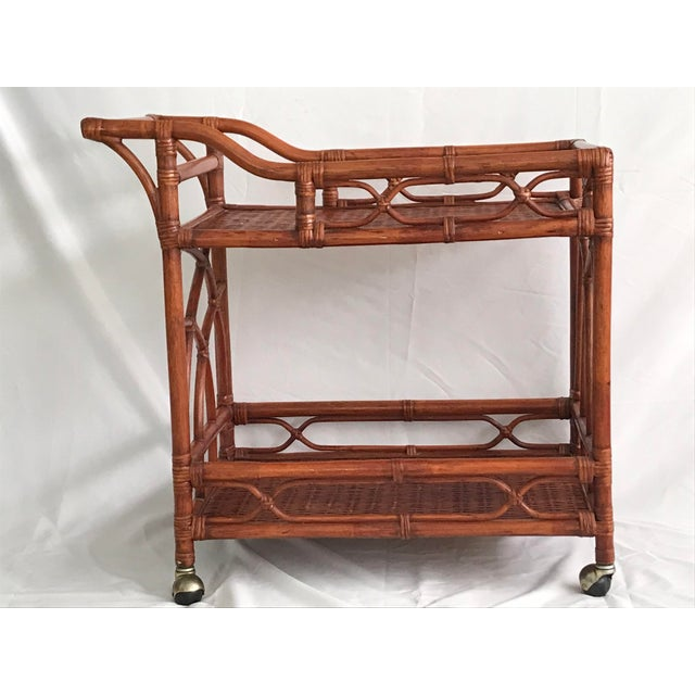 Asian Vintage Rattan Bamboo Bar Cart For Sale - Image 3 of 10