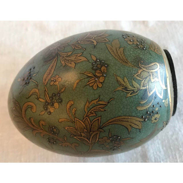 Gray Green & Gold Egg With Floral Raised Details For Sale - Image 8 of 9