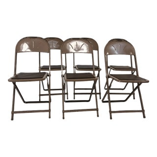 Vintage Industrial Steel Folding Chairs - Set of 6 For Sale