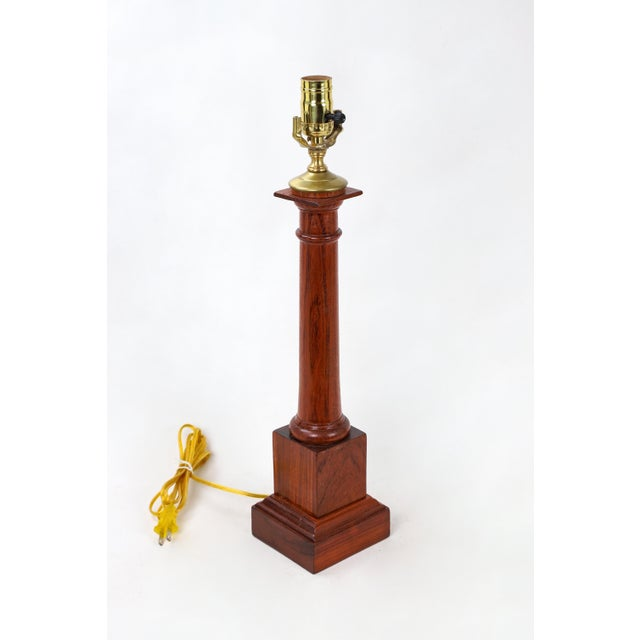 Brown Wooden Column Lamp With a Cherry Stain For Sale - Image 8 of 10