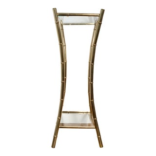 Mid Century Hollywood Regency Brass Faux Bamboo Plant Stand For Sale