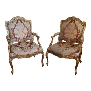 Faux Painted Louis XV Style Armchairs - a Pair