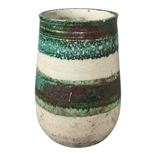 Hand Thrown Green Bronze White Ceramic Vase For Sale