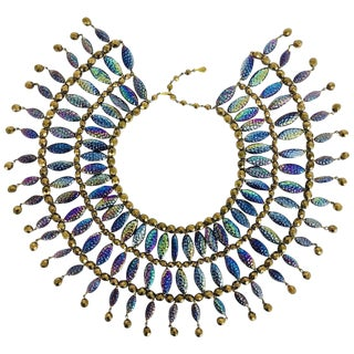 Lester Joy Les Bernard Huge Iridescent Glass Beaded Collar Necklace 1970s For Sale