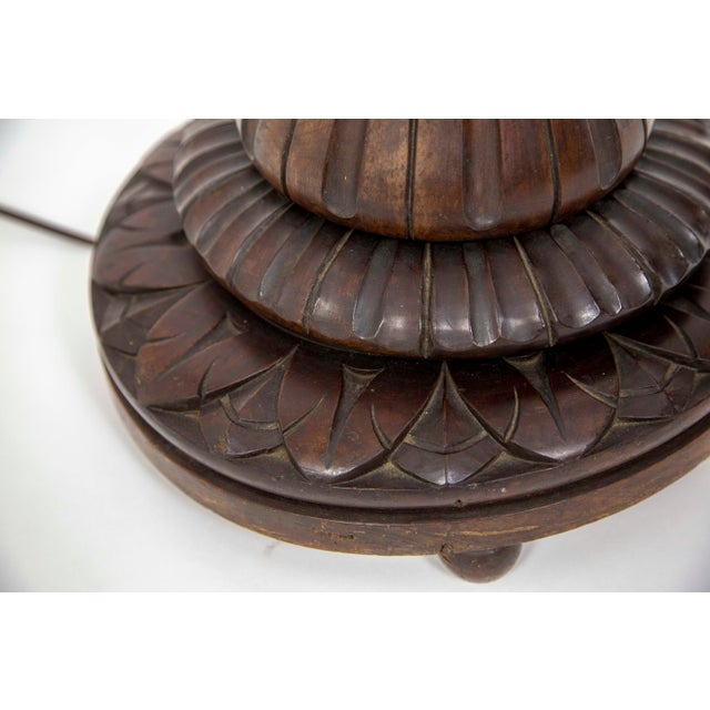 Large Fluted Mahogany Floor Lamp For Sale - Image 4 of 10