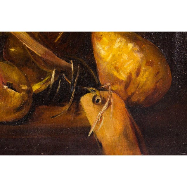 Early 20th Century Early 20th Century Antique Fruit Basket Still Life Oil on Canvas Painting For Sale - Image 5 of 13