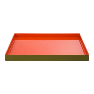 Pentreath & Hall Collection Medium Tray in Olive Green / Orange For Sale
