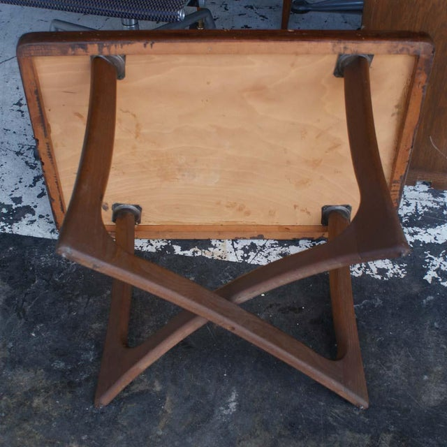 1950s Adrian Pearsall for Craft Associates side table. Solid wood construction, kind of an unusual stain color with an...