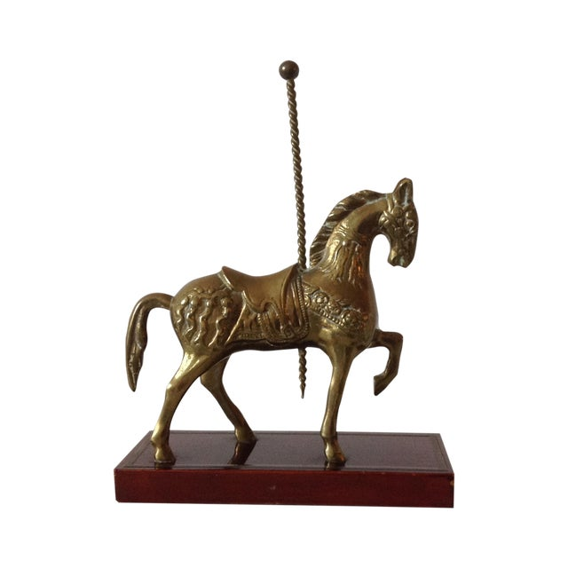 Brass Carousel Horse Accent Bookend For Sale