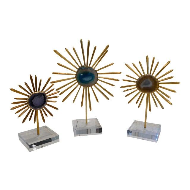 Agate & Gold Leaf Starburst Tabletop Sculptures - Set of 3 For Sale