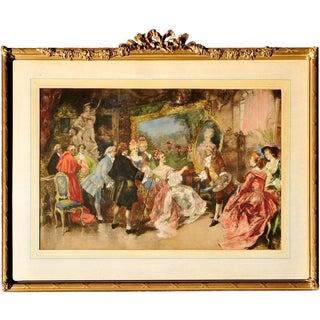 """""""Royal Visitors in Watteau's Studio"""" Hand Colored Lithograph After Vincente De Garcia Paredes For Sale"""
