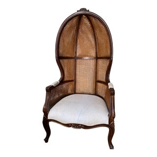 1940s Vintage Reupholstered Hollywood Regency Caned Balloon Porters Chair For Sale