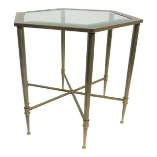 Vintage Mid Century Mastercraft Hexagonal Brass Side Table For Sale