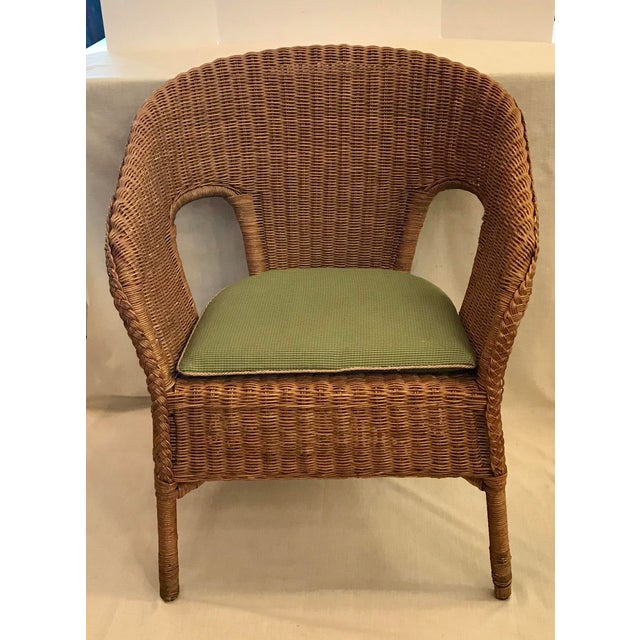 Late 20th Century Vintage Barrel Back Natural Wicker Chair For Sale - Image 13 of 13