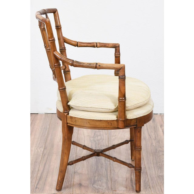 Drexel Faux Bamboo Chinoiserie Chippendale-Style Armchairs - Image 4 of 6
