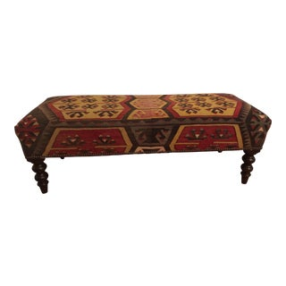 1990s Mid-Century Modern George Smith of England Kilim Bench For Sale