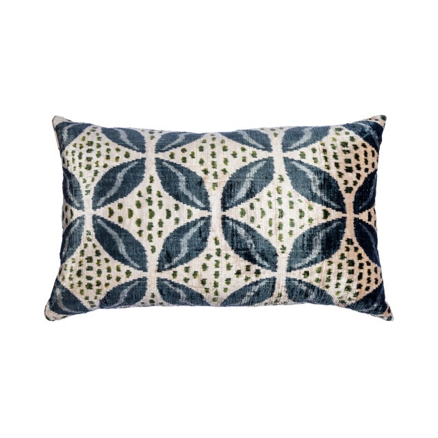 Asian Vintage Large Rectangle Green/Silver/Blue Silk Velvet Ikat Pillow For Sale - Image 3 of 3