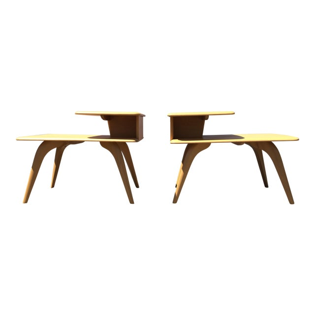 Heywood Wakefield Wheat Finished End Tables- A Pair - Image 1 of 8