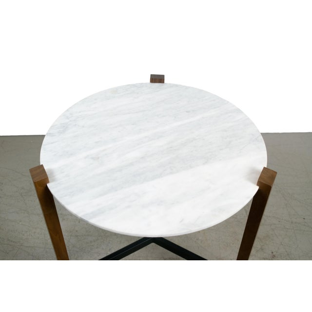 Minimalist Modern Teak and White Marble Side Table - Image 5 of 8