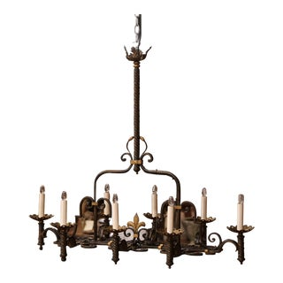 Late 19th Century French Gothic Eight-Light Iron Chandelier With Fleur-De-Lys For Sale