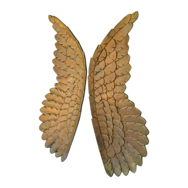 Large Gold Carved Wood Wings - Pair - Image 1 of 6