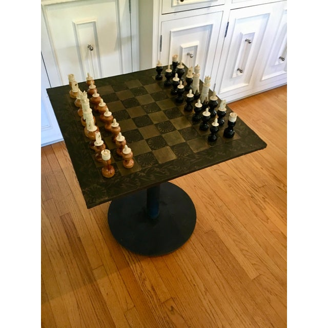 Black Metal Mexaican Chess Board Table With Hand-Carved Wooden Chess Men For Sale - Image 8 of 8