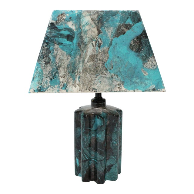 Transitional Turquoise Hand Painted Marble Lamp - Image 1 of 5