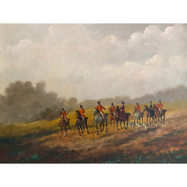 Vintage hunt scene oil on canvas painting with horses and dogs. Signed Tiesey. Comes in an antique wood and gesso frame...