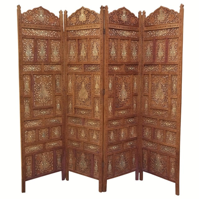 Carved Indian Screen with Brass Inlay For Sale