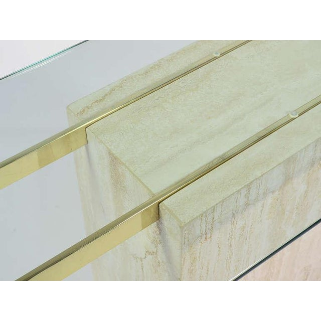 Italian Travertine and Glass Console Table by Ello For Sale - Image 10 of 11