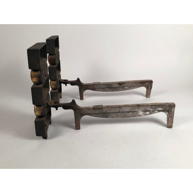 1940s Donald Deskey Andirons With Matching Firetool Set - Set of 6 For Sale - Image 9 of 13