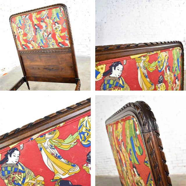 Antique French Carved Walnut and Upholstered Twin Bed With Asian Figural Fabric For Sale - Image 12 of 13