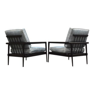 Edmond Spence Black Lounge Chairs - a Pair For Sale