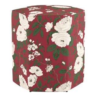 Hexagonal Ottoman in Cranberry Chintz For Sale