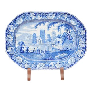 Large English Blue & White Platter For Sale