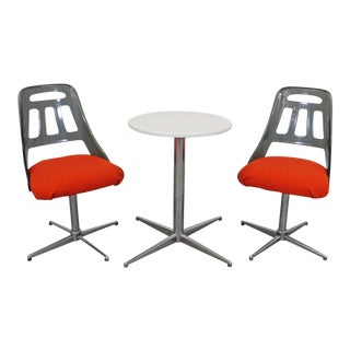 Mid-Century Modern 3-Piece Dining Set Chrome Lucite Dining Chairs & Table For Sale