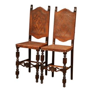 Pair of 19th Century Spanish Carved Walnut Bar Stools With Original Leather For Sale