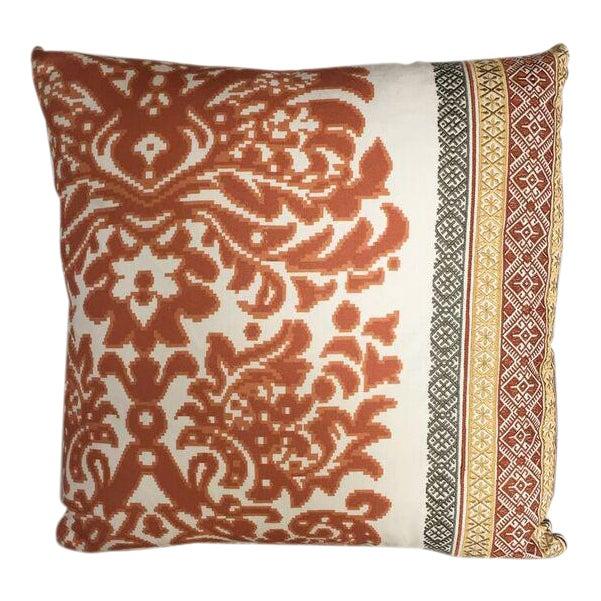 Kim Salmela Orange Embroidered Pillow For Sale