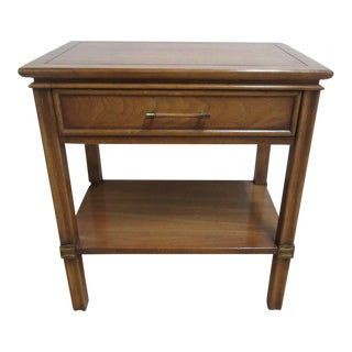 Vintage James Mont Style Lamp End Table One Drawer Brass Inlaid Night Stand For Sale