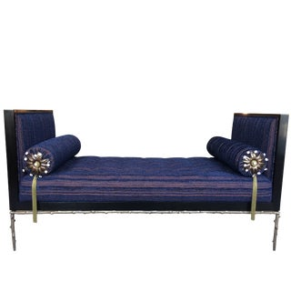 Custom Designed Daybed With Flora Inspired Base in Solid Bronze For Sale