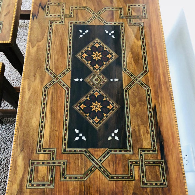 1990s 1990s Mosaic Inlay Syrian Walnut Nesting Tables - Set of 3 For Sale - Image 5 of 7