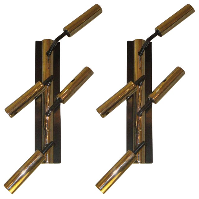 Pair of Custom Four-Arm Bronze and Nickel Plated Sconces For Sale