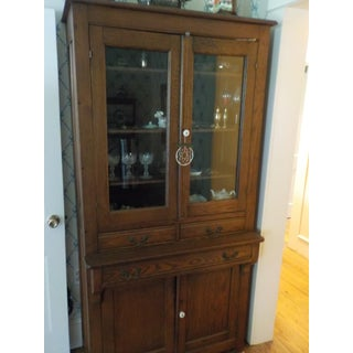 An American Oak and Glass Standing Cabinet. Preview
