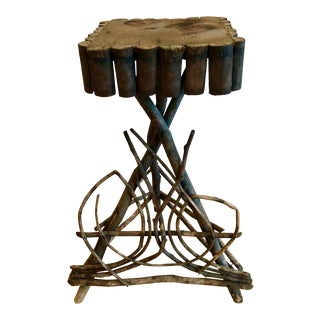 Adirondack Style Twig Side Table For Sale